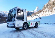 DPD präsent auf Jumbo Elektrofahrzeug in Zermatt