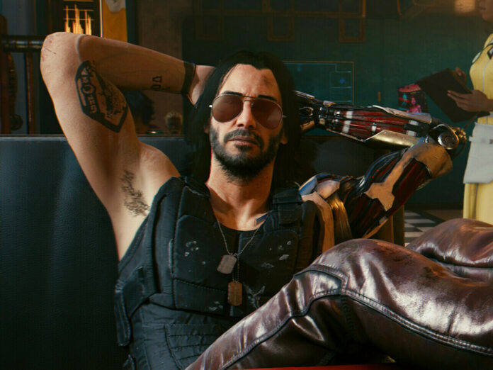 Keanu Reeves als Johnny Silverhand in