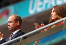 Prinz William und Herzogin Kate auf der Tribüne im Wembley-Stadion.