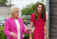 First Lady Jill Biden (l.) und Herzogin Kate bei ihrem ersten Treffen