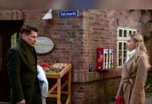 """Amelie (Lara-Isabelle Rentinck) lässt Gregors (Wolfram Grandezka) Drohungen bei """"Rote Rosen"""" kraftlos über sich ergehen."""