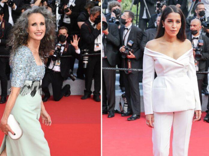 Andie MacDowell und Leila Bekhti legten einen eleganten Auftritt in Cannes hin.