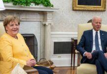 Angela Merkel während ihres Treffens mit Joe Biden im Weißen Haus