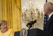 Angela Merkel und Joe Biden bei ihrer Pressekonferenz.