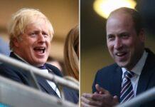 Boris Johnson (li.) und Prinz William feuern England im EM-Halbfinale an.