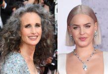 Der Granny-Hair-Look unterschiedlich interpretiert: Andie MacDowell (li.) und Anne-Marie