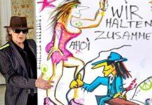 Das von Udo Lindenberg gemalte Kunstwerk wurde im Rahmen einer Spendenaktion der ARD versteigert.