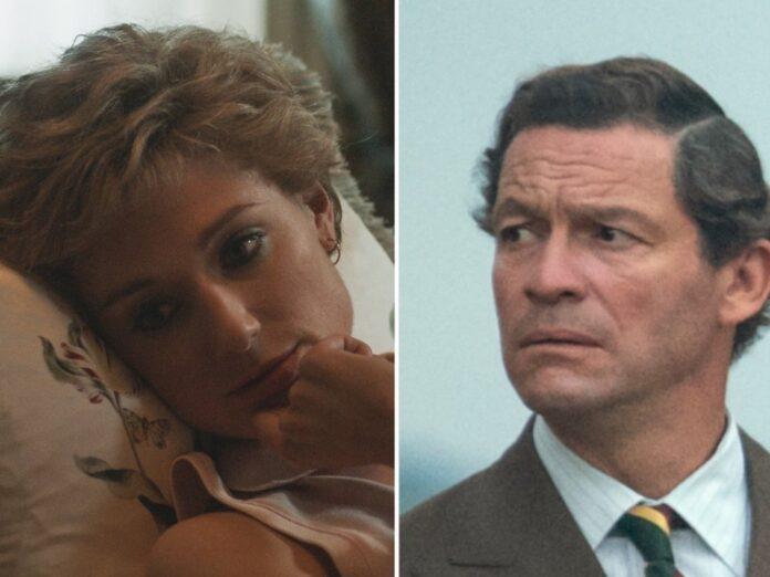 Elizabeth Debicki als Prinzessin Diana und Dominic West als Prinz Charles in