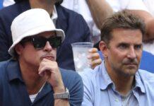 Die Freunde Bradley Cooper (l.) und Brad Pitt beim US-Open-Finale in New York City.