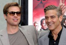 """Brad Pitt und George Clooney bei einem Pressetermin zu """"Ocean's 13"""""""