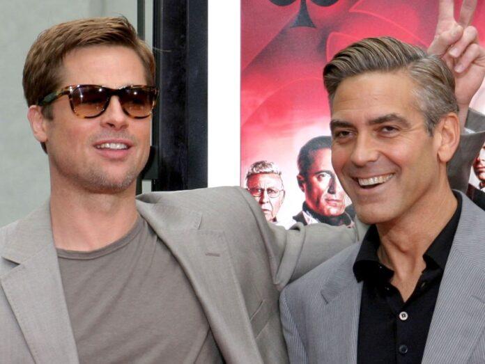 Brad Pitt und George Clooney bei einem Pressetermin zu