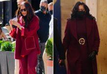 Herzogin Meghan am Freitag (24. September) in New York und Michelle Obama im Januar in Washington D.C..