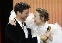 """Florian David Fitz (l.) übergab die Lola für die """"Beste weibliche Hauptrolle"""" an Maren Eggert."""