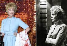 """Jamie Lee Curtis bei der """"Halloween Kills""""-Premiere (l.) und Janet Leigh im Film """"Psycho""""."""